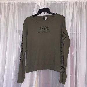 "Long Sleeve Crew Shirt (Army Green) ""Los Angeles"""